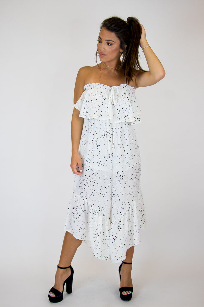 S / White Lucky Star Jumpsuit - Madison + Mallory