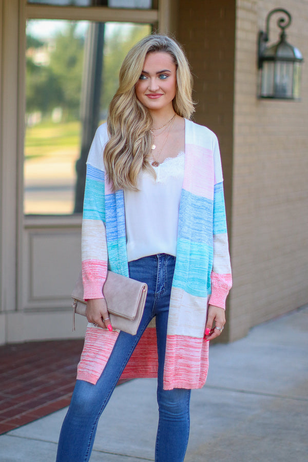 S / Multi Up in the Clouds Rainbow Cardigan - Madison + Mallory