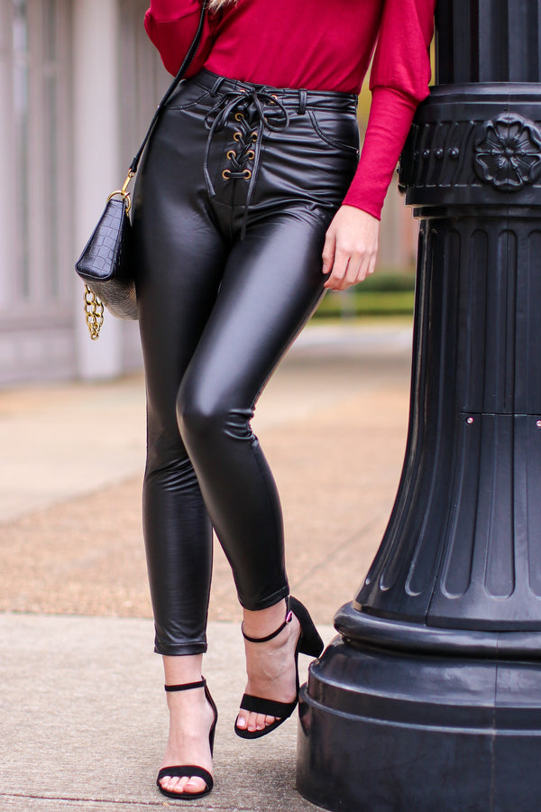 S / Black Zina Lace Up Leather Pants - Madison and Mallory