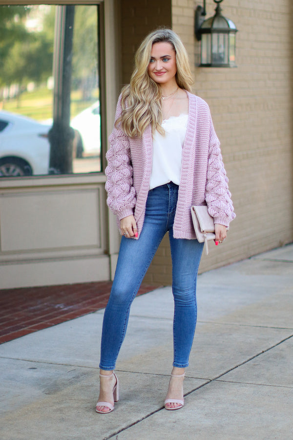 Francesca Bubble Sleeve Cardigan - Mauve - Madison + Mallory