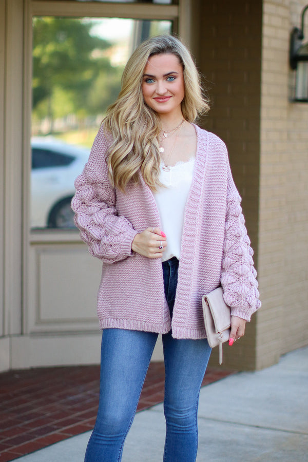 Mauve / S Francesca Bubble Sleeve Cardigan - Mauve - Madison + Mallory