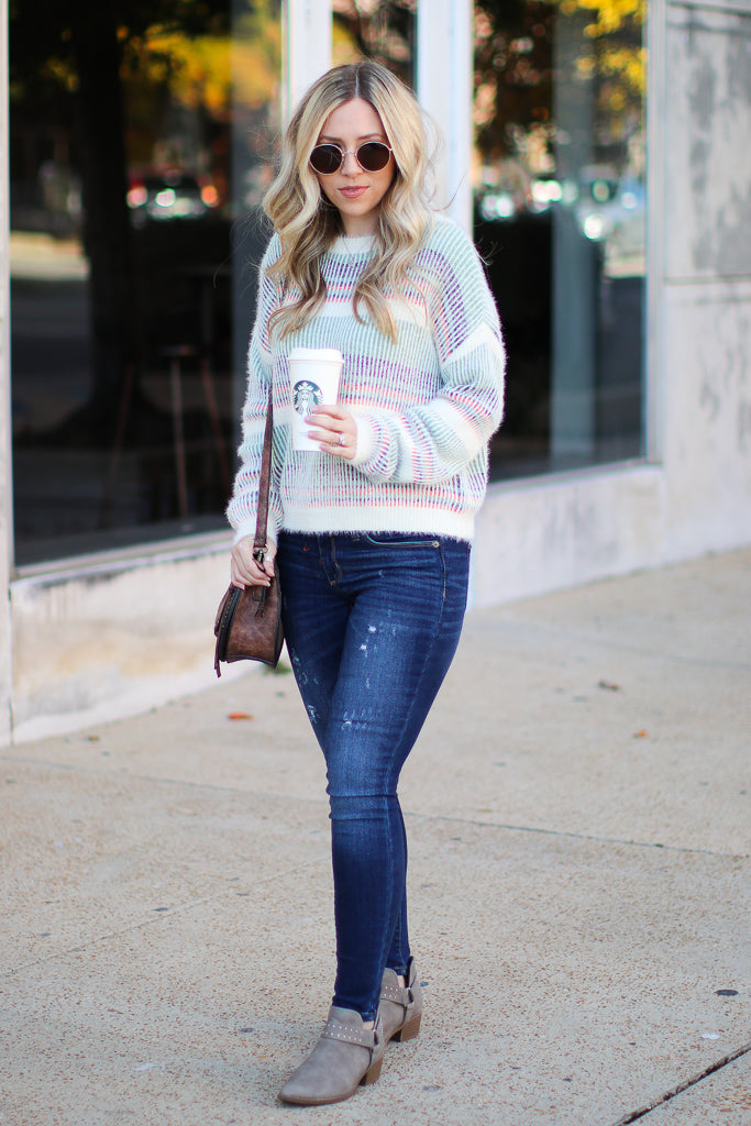 Adonis Multi Stripe Sweater - Madison + Mallory