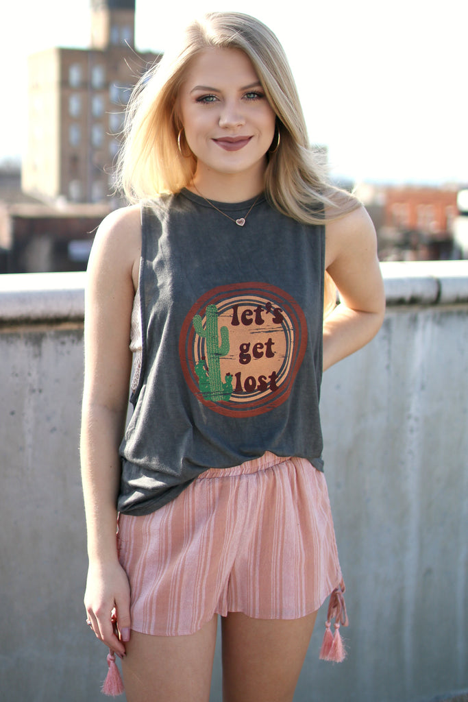 Let's Get Lost Graphic Tank Top