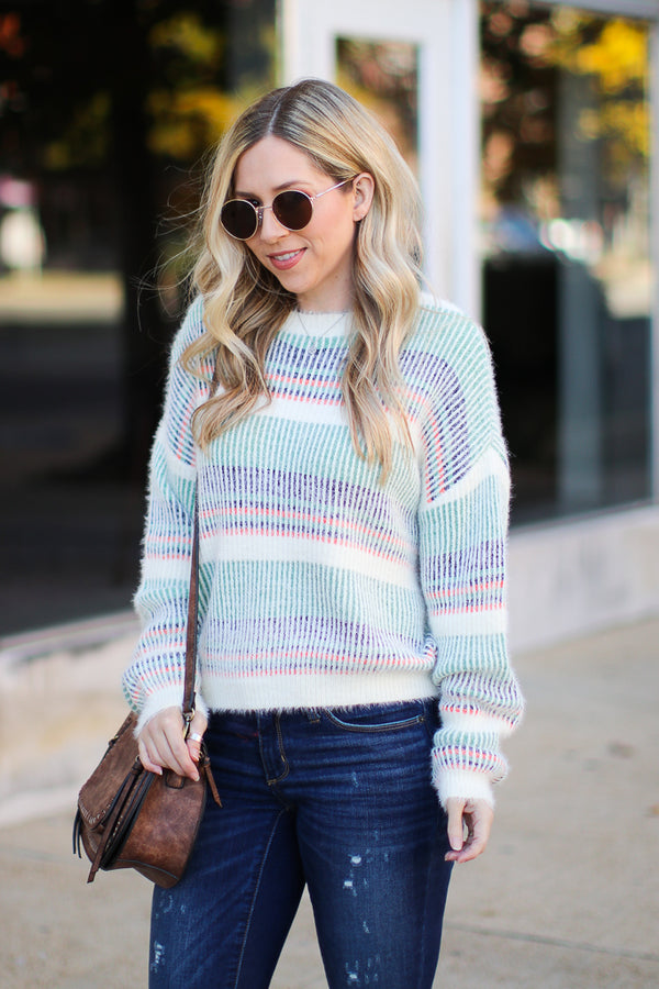 S / Green Adonis Multi Stripe Sweater - FINAL SALE - Madison + Mallory