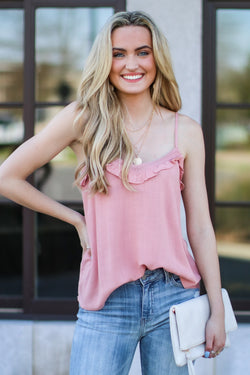 S / Dusty Pink Carrigan Ruffle Tank - Madison and Mallory