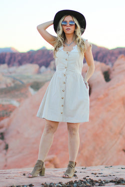 S / Taupe Think About It Button Detail Dress - FINAL SALE - Madison + Mallory