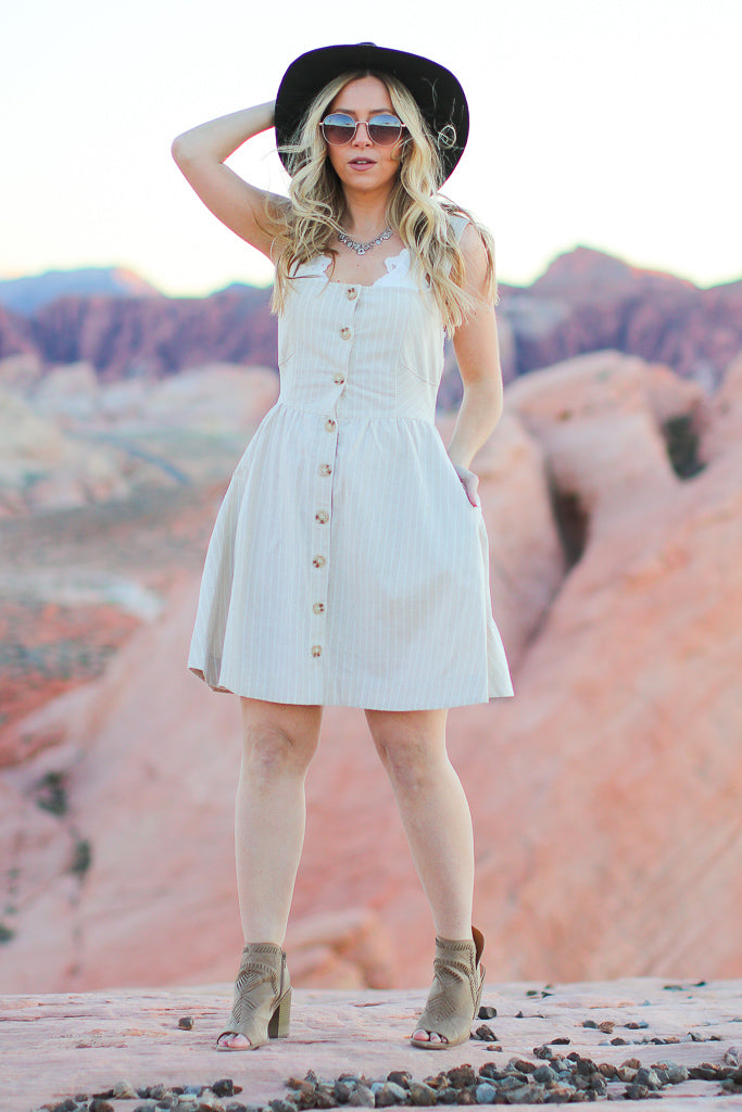 Think About It Button Detail Dress - FINAL SALE - Madison + Mallory