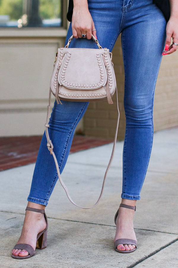 Taupe Khloe Whipstitch Crossbody Bag - Taupe - Madison + Mallory