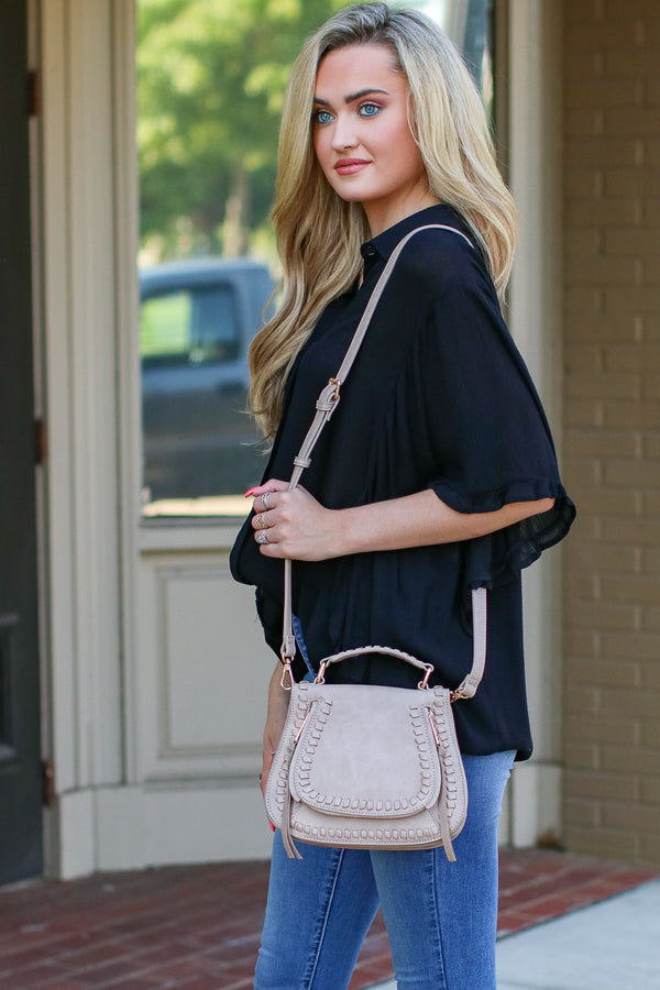 Khloe Whipstitch Crossbody Bag - Taupe - Madison + Mallory