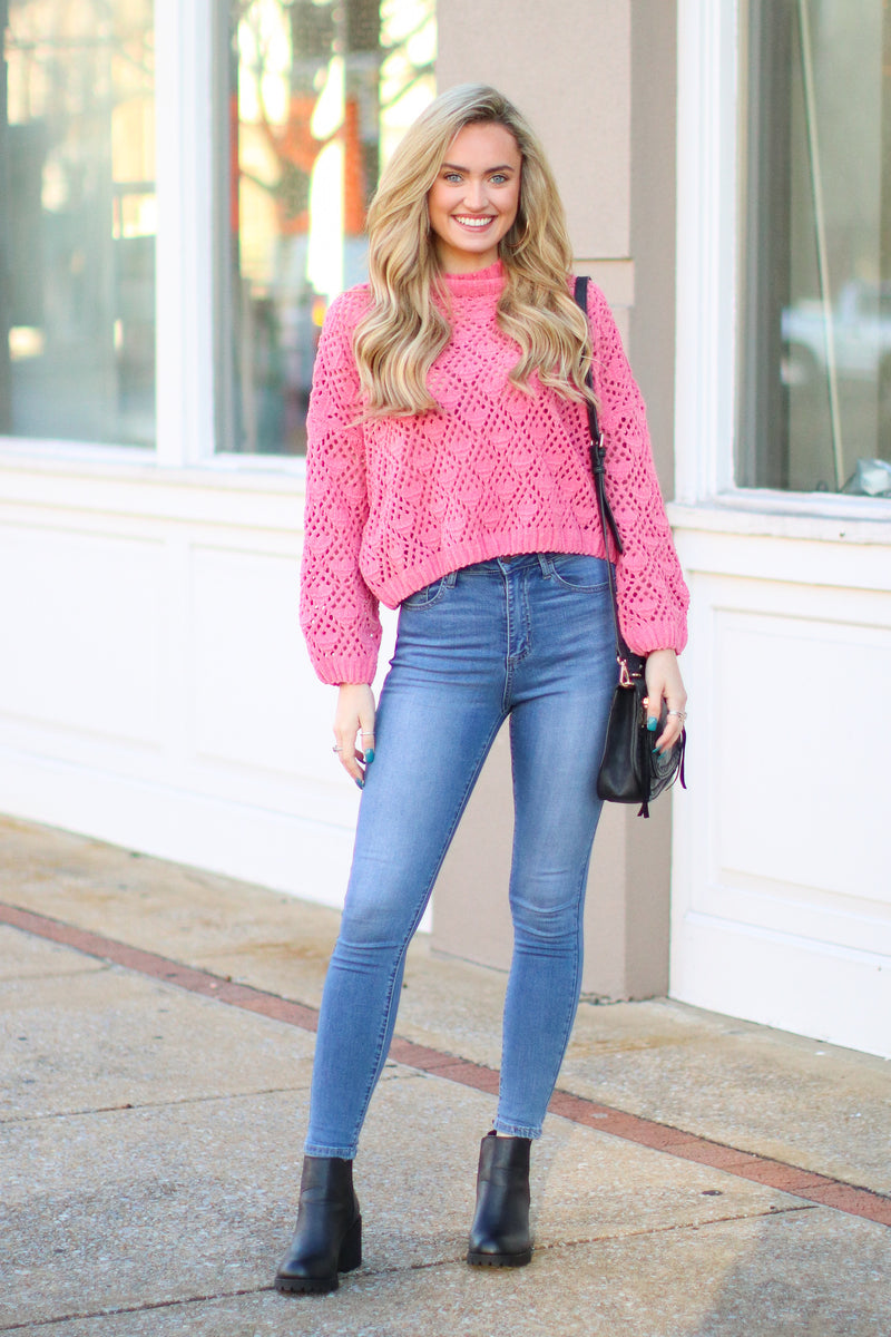 Nicolet Crochet Detail Sweater - Bubble Gum - Madison + Mallory