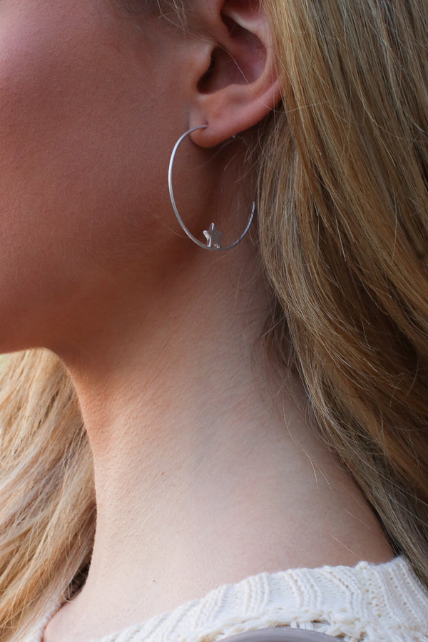 Silver Super Star Hoop Earrings - Madison + Mallory