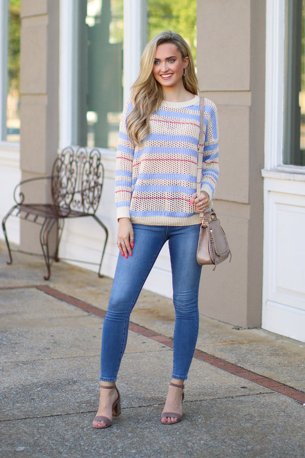 So You Go Striped Sweater - FINAL SALE - Madison and Mallory