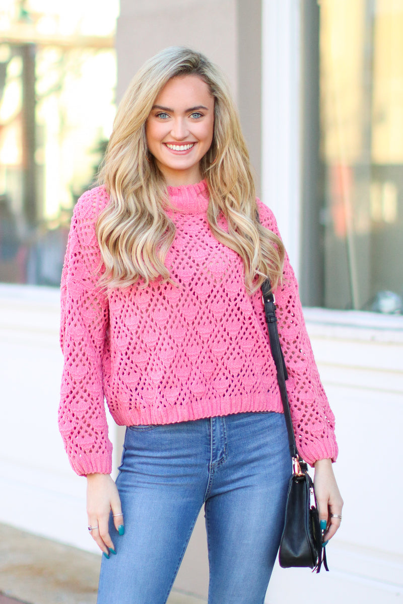 Bubble Gum Pink / S Nicolet Crochet Detail Sweater - Bubble Gum - Madison + Mallory