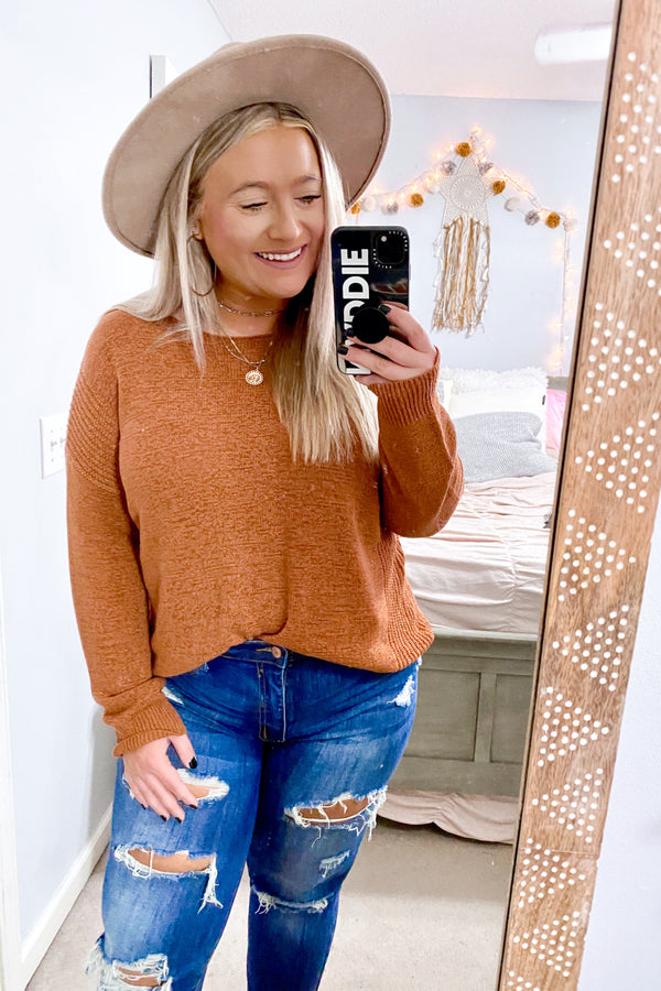 S / Rust Fond Feelings Relaxed Drop Shoulder Sweater - Madison and Mallory