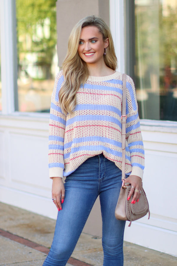 SM / Vanilla So You Go Striped Sweater - FINAL SALE - Madison and Mallory