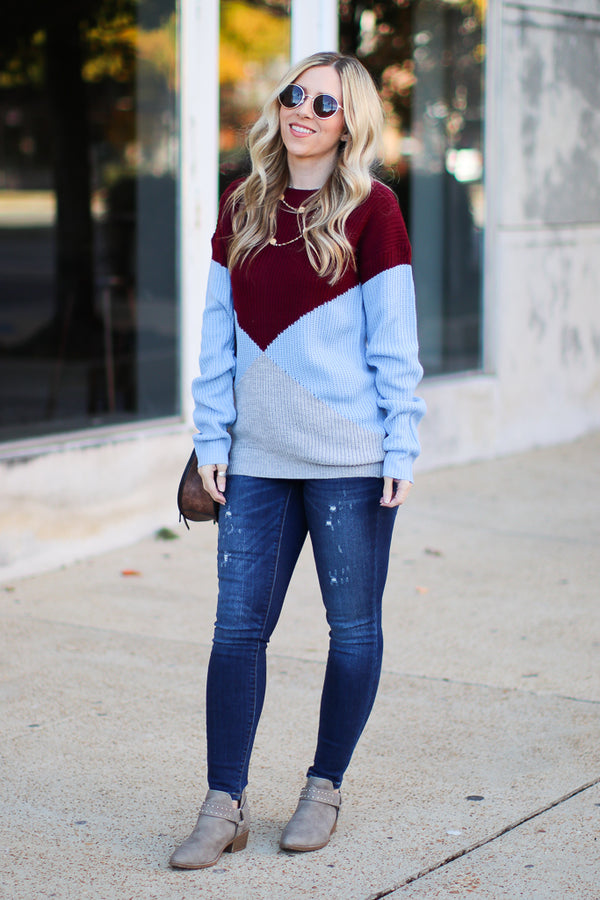 Ran to Retro Color Block Sweater - Madison + Mallory