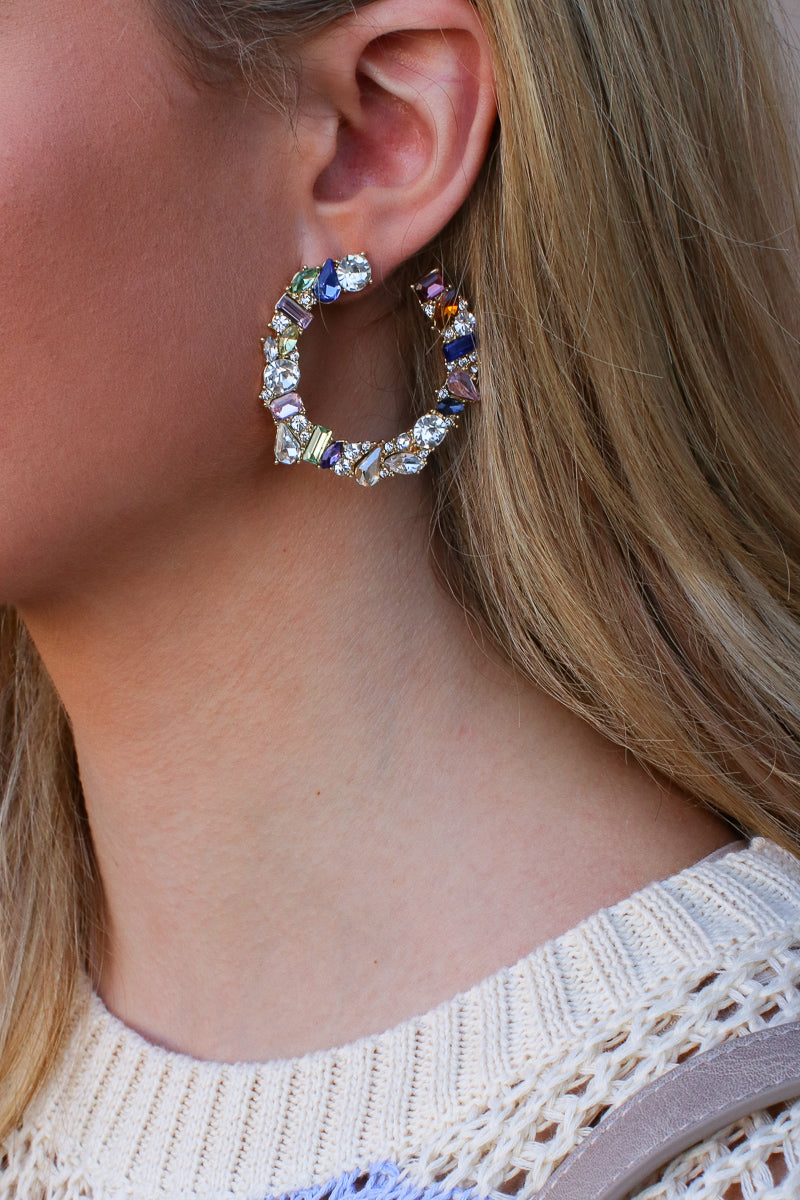 Gold Bling On Rhinestone Earrings - Madison + Mallory