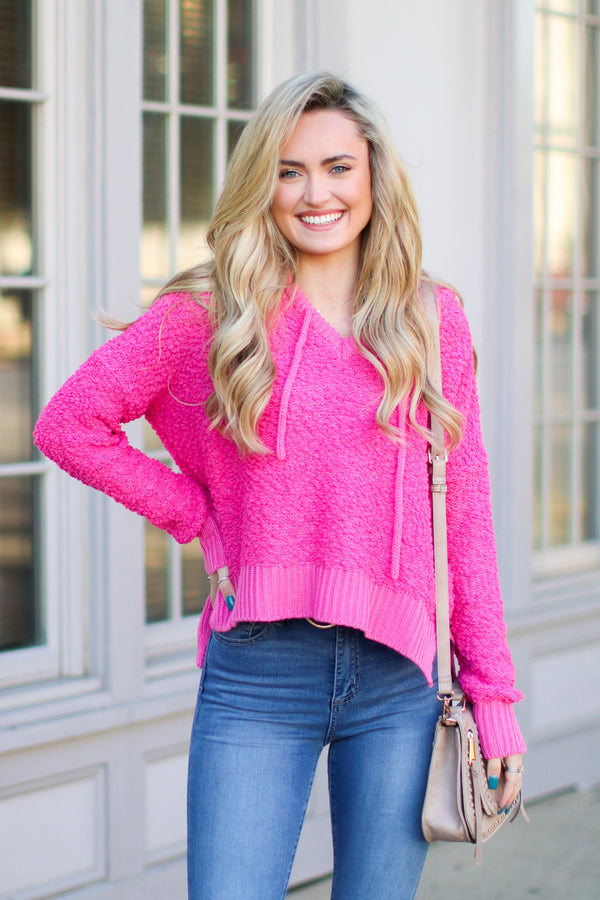 S / Bubble Gum Pink Meltdown Ultra Soft Hooded Sweater - Madison + Mallory