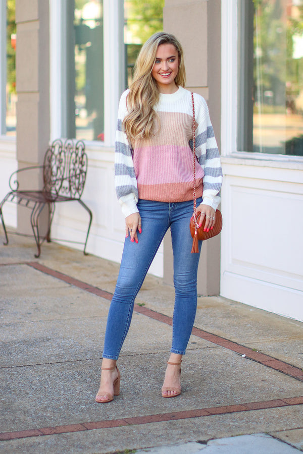 Refine Color Block Striped Sweater - Madison + Mallory