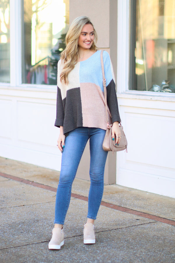 Material World Color Block Sweater - Madison + Mallory
