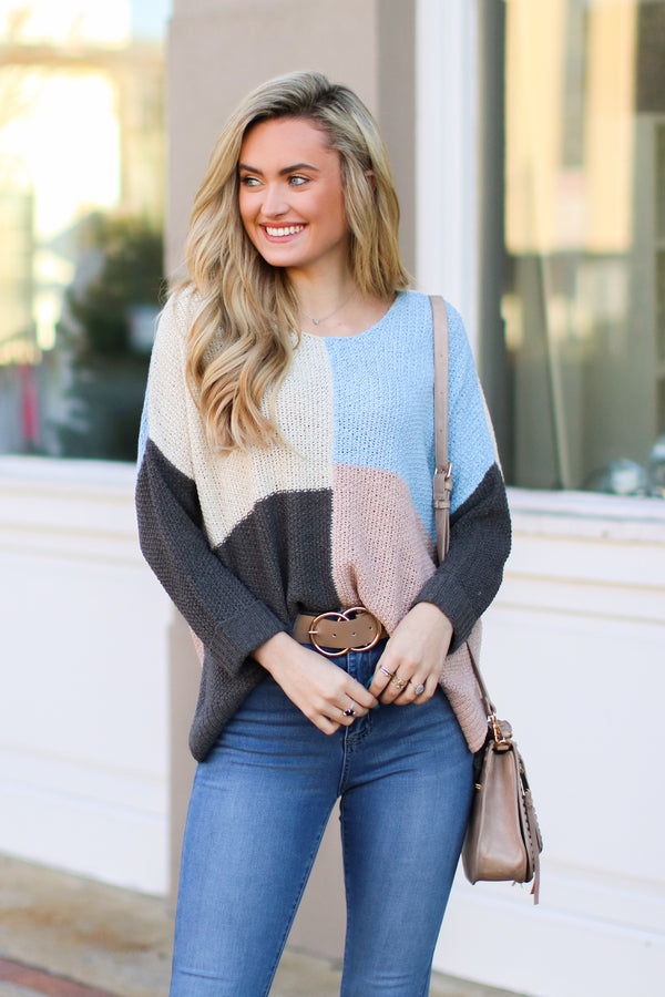 S / Blue Material World Color Block Sweater - Madison + Mallory