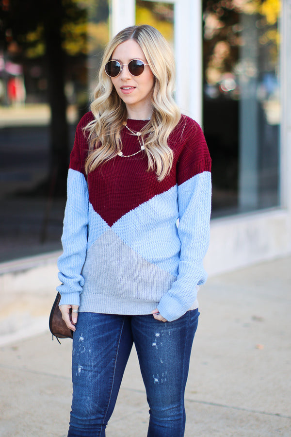 SM / Burgundy Ran to Retro Color Block Sweater - Madison + Mallory