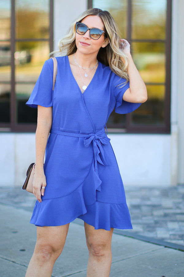 S / Royal Most Likely Flounce Surplice Dress - Madison + Mallory