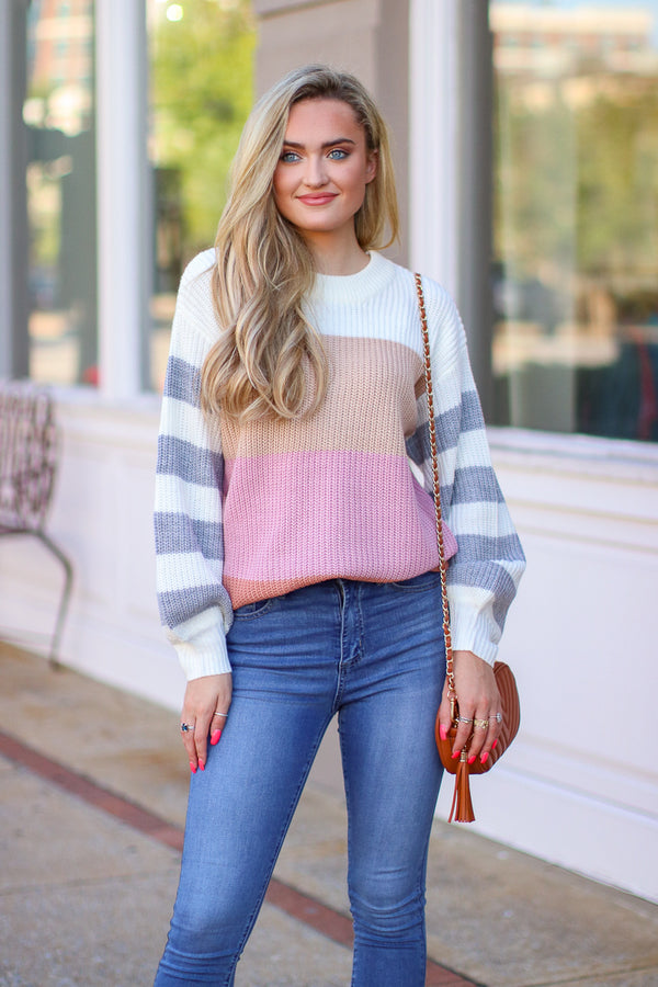 S / Multi Refine Color Block Striped Sweater | S-3X - Madison + Mallory