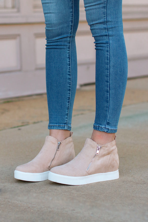 5.5 / Oatmeal Follow the Beat Wedge Sneakers - Oatmeal - Madison + Mallory