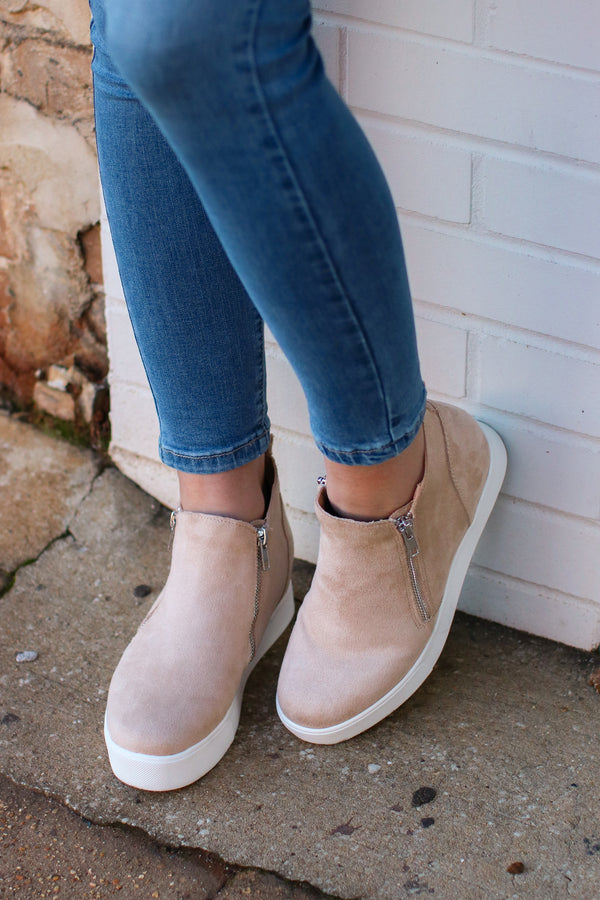 Follow the Beat Wedge Sneakers - Oatmeal - Madison + Mallory