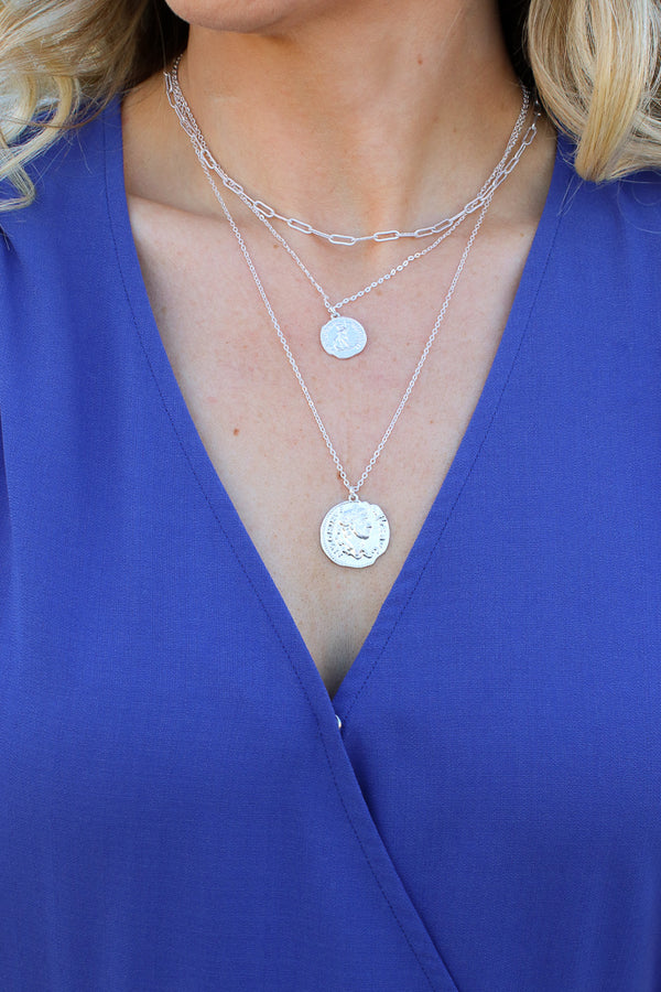 OS / Silver Springsteen Layered Coin Necklace - Madison + Mallory