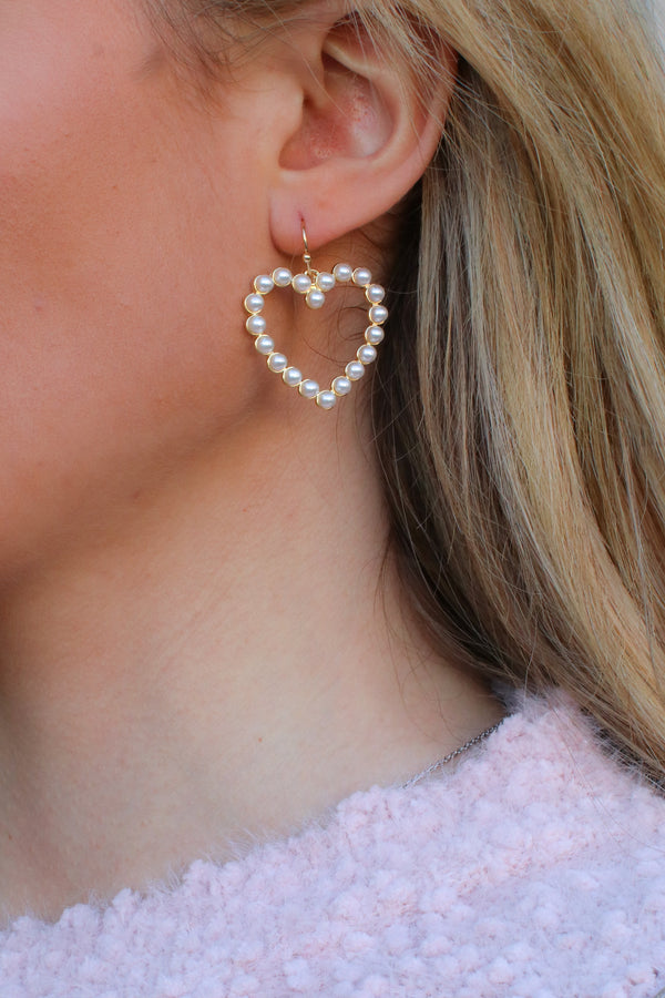 Gold Sweet Persuasion Pearl Heart Earrings - Madison + Mallory