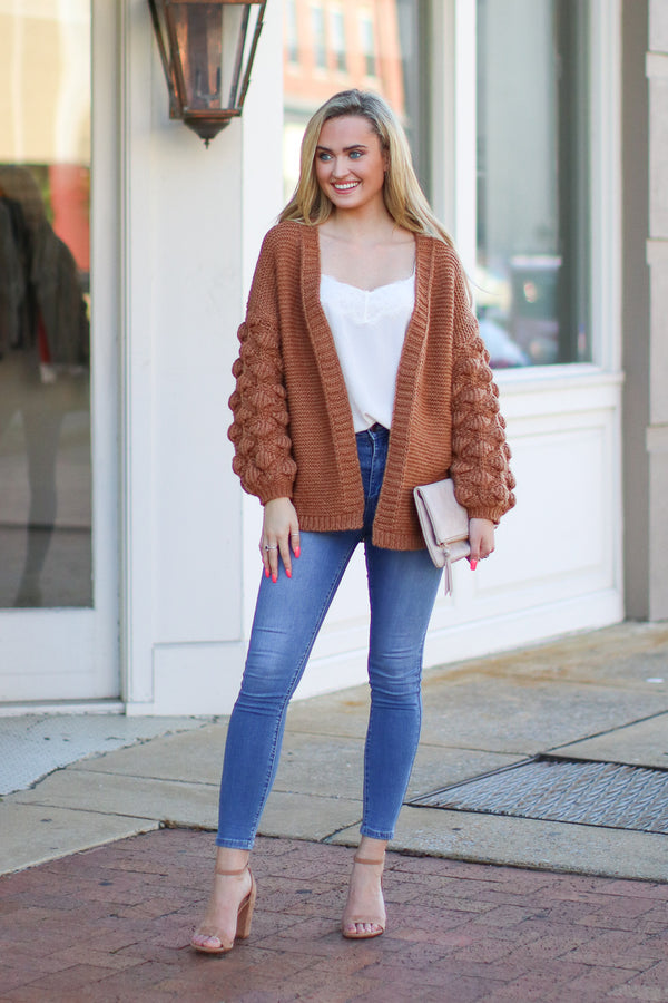 Amber / S Francesca Bubble Sleeve Cardigan - Amber - Madison + Mallory