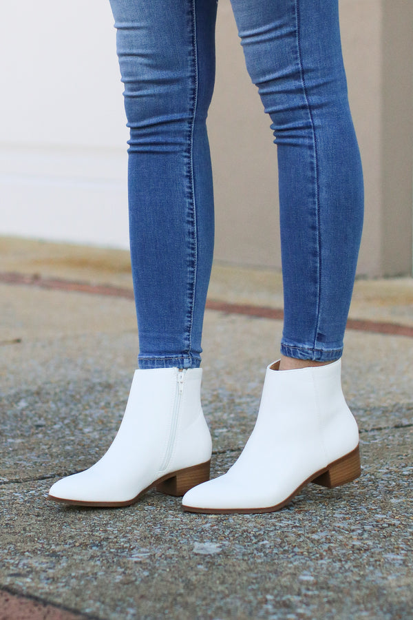 5.5 / White Capitola White Booties - Madison and Mallory