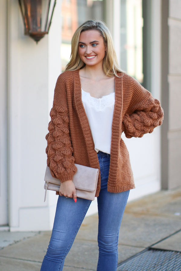 Francesca Bubble Sleeve Cardigan - Amber - Madison + Mallory