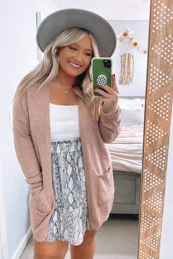 S / Pink Uptown Long Line Knit Cardigan - Madison and Mallory