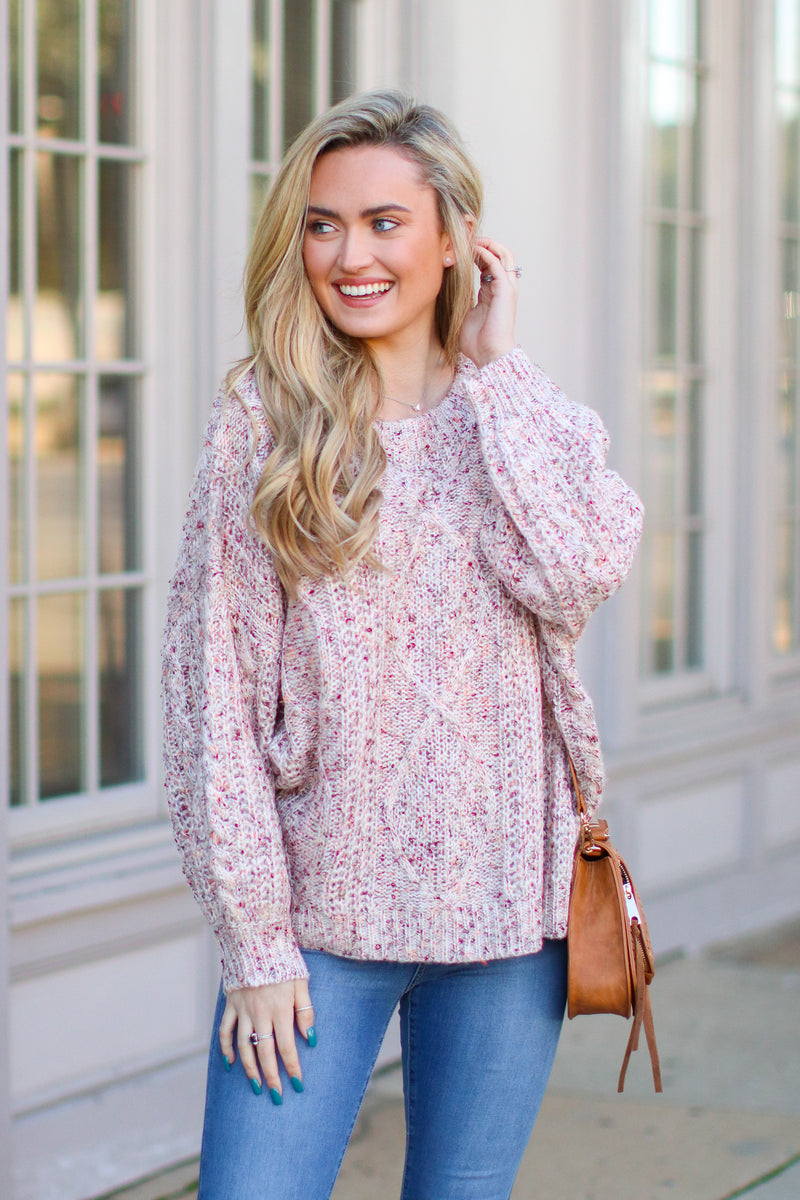 S / Rose Take My Hand Cable Knit Sweater - Madison + Mallory