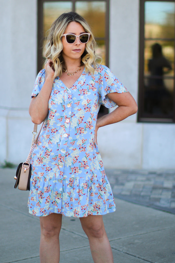 S / Blue Everyday Love Floral Dress - Madison + Mallory