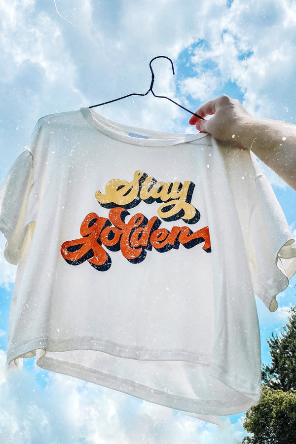 S / Off White Stay Golden Graphic Top - Madison and Mallory