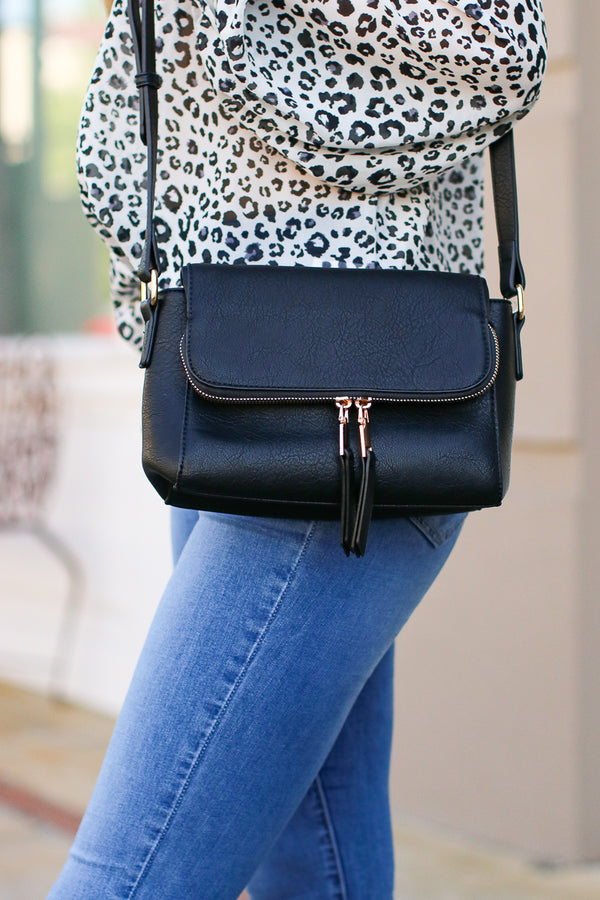 Black Zip Code Faux Leather Bag - Black - Madison + Mallory
