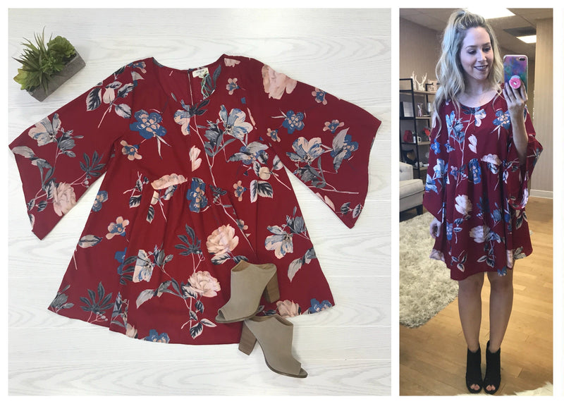 S / Red Red Bell Sleeve Floral Babydoll Dress - Madison + Mallory