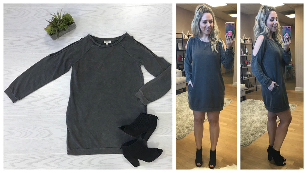 S / Ash Mineral Wash Cold Shoulder Sweatshirt Dress - Madison + Mallory