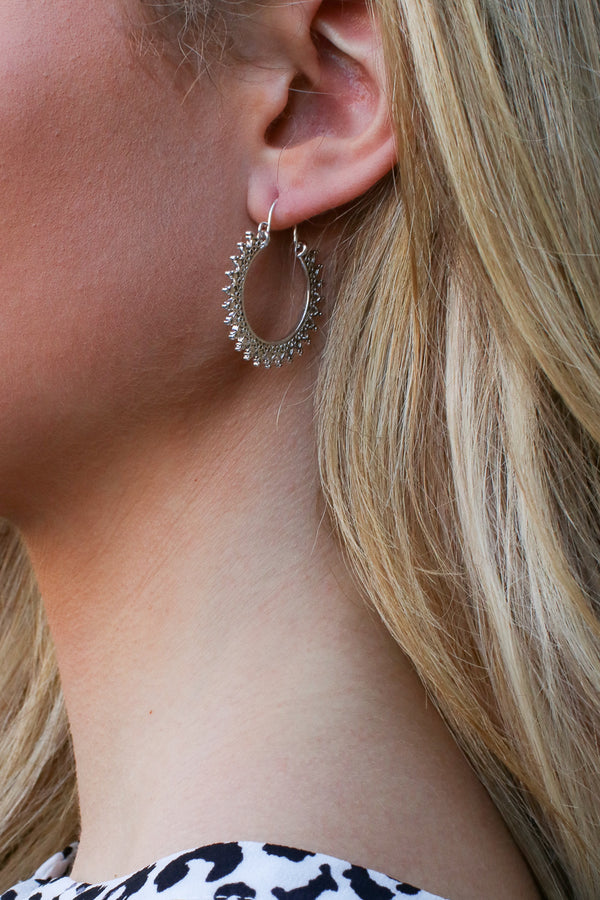Silver Salma Patterned Cutout Hoops - Madison + Mallory