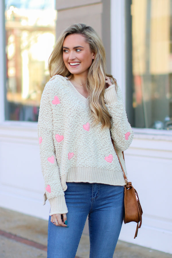 S / Beige Smitten Heart Popcorn Hooded Sweater - Madison and Mallory