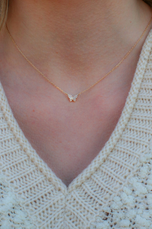 Gold Fancy-Free Butterfly Necklace - Madison + Mallory