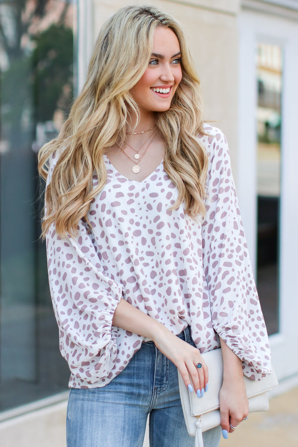 Danya Spotted Puff Sleeve Top - Madison and Mallory