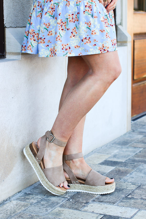 5.5 / Natural Give Me a Lift Platform Wedges - FINAL SALE - Madison and Mallory