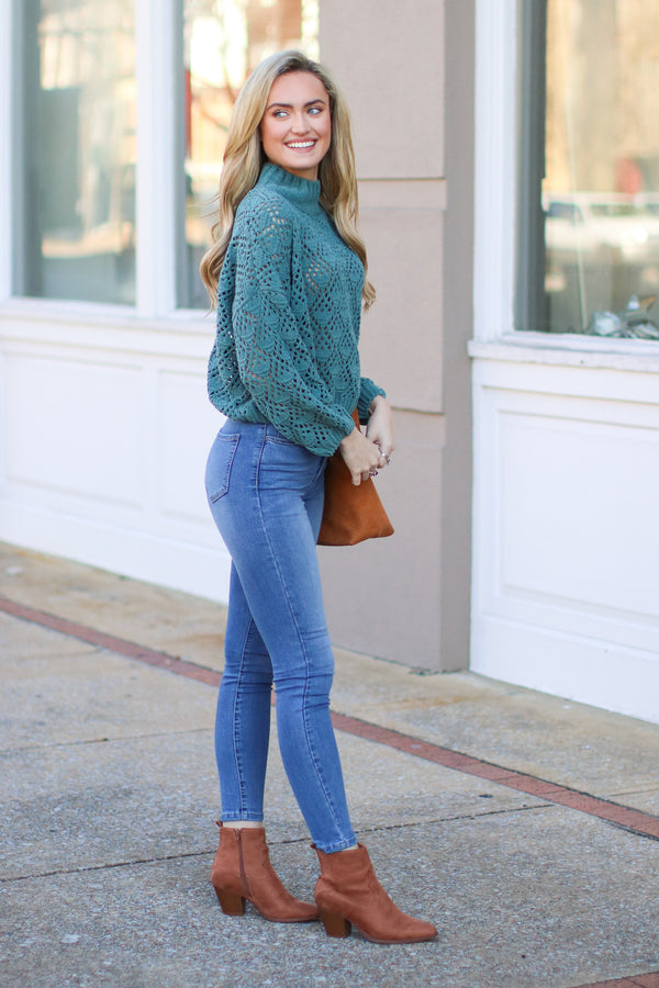 Nicolet Crochet Detail Sweater - Dusty Emerald - FINAL SALE - Madison and Mallory
