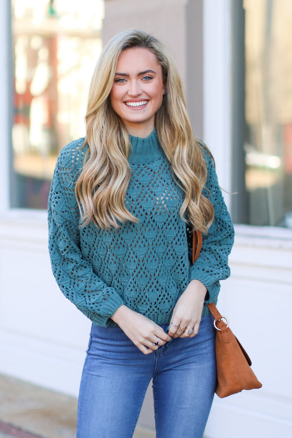 Dusty Emerald / S Nicolet Crochet Detail Sweater - Dusty Emerald - Madison + Mallory