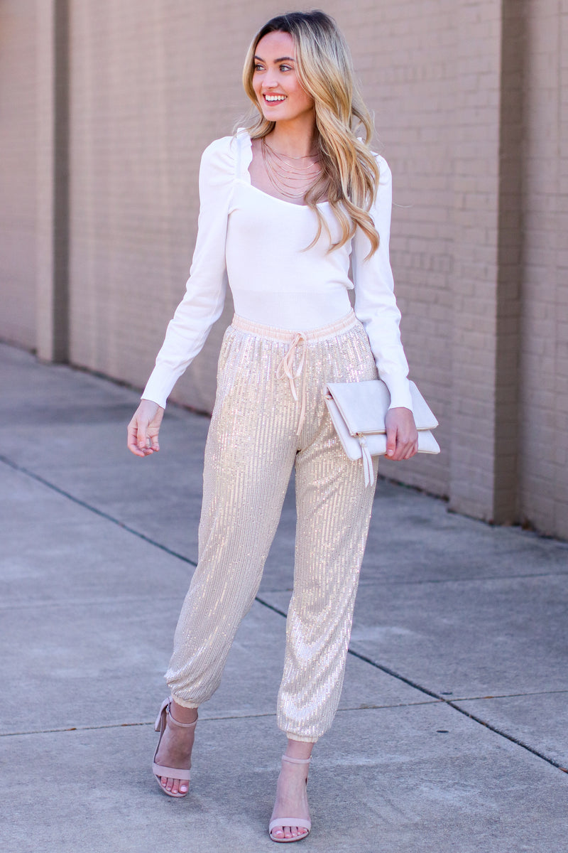 Sweet Sparkles Sequin Joggers - Madison and Mallory